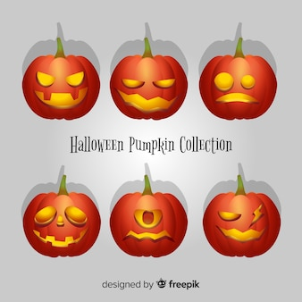 Modern halloween pumpkin collection with realistic design