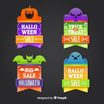 Modern halloween sale label collection with flat design