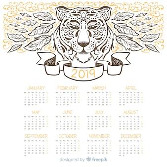 Calendario Tiger 2019.Modern Hand Drawn 2019 Calendar Template Vector Free Download