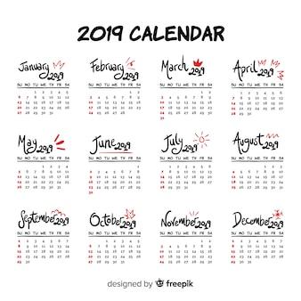 Modern hand drawn 2019 calendar template