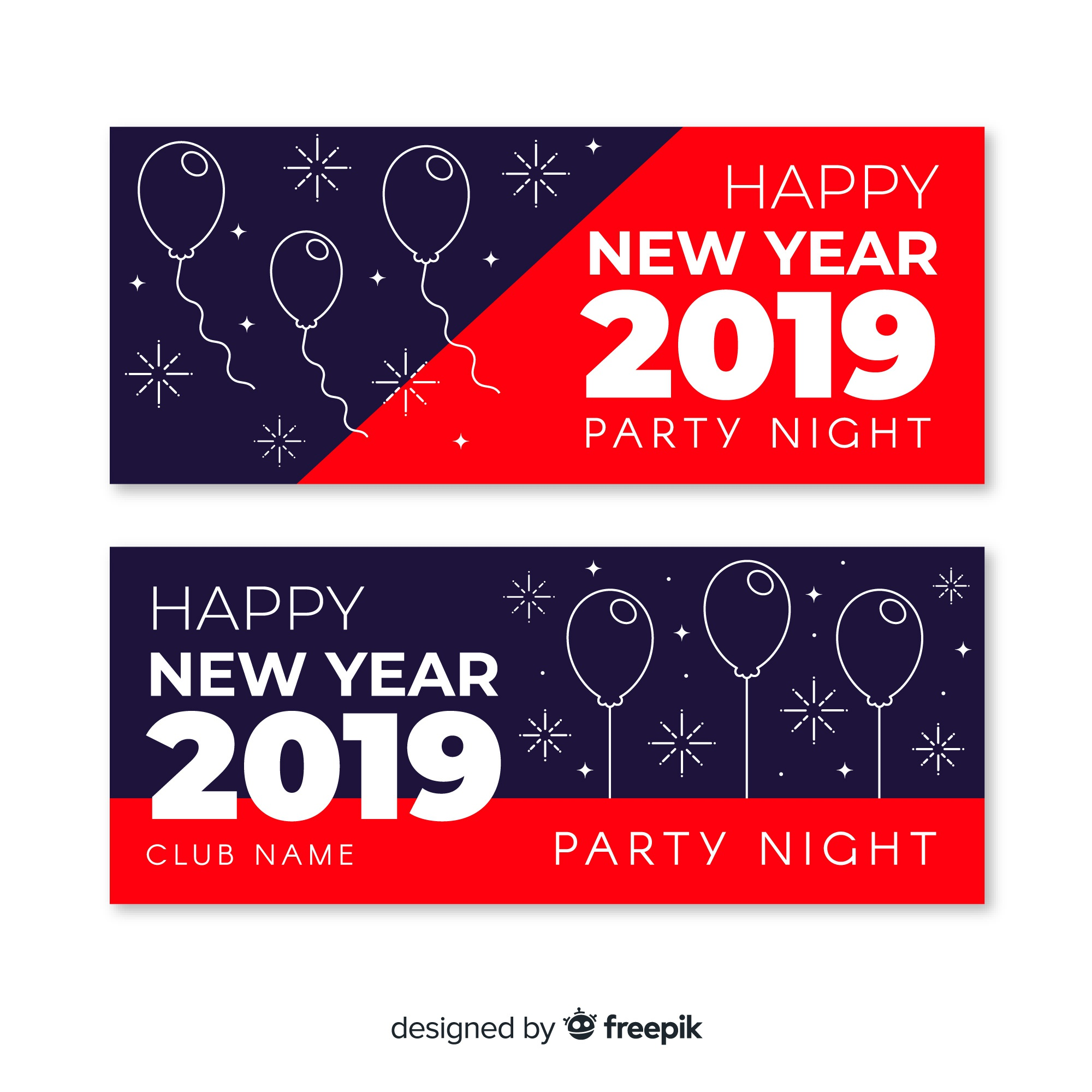 Modern hand drawn 2019 new year party banners