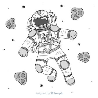 Modern hand drawn astronaut character