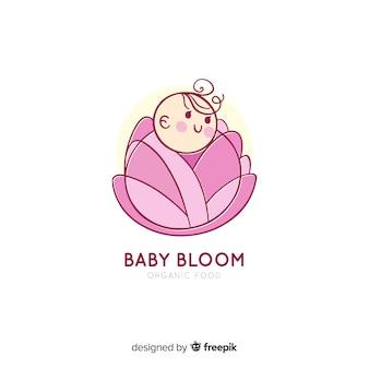 Modern hand drawn baby logo template
