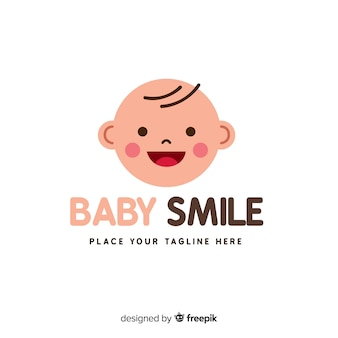 Modern hand drawn baby logo template
