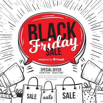 Modern hand drawn black friday composition