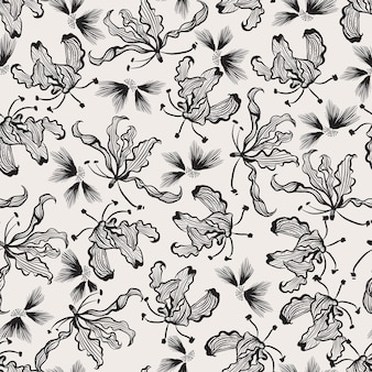 Modern hand drawn black and white line art flowers seamless pattern in vector eps10 ,design for fashion, fabric,web,wallpaper,wrapping and all print