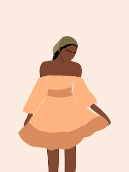 Современная рисованная богемная черная женщина, держащая платье