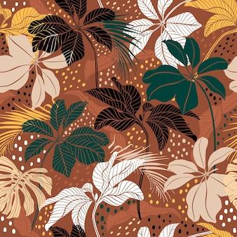 現代の手描きの植物の葉は、水玉模様のシームレスなパターンベクトルと熱帯の気分のミックスを残します
