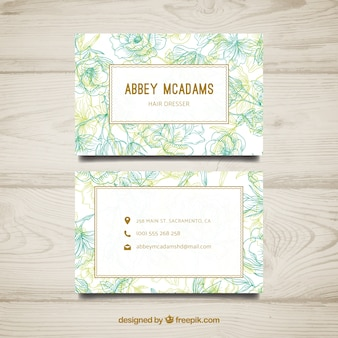 Modern hand drawn business card template with flowers