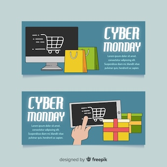 Modern hand drawn cyber monday banners