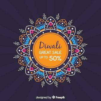 Modern hand drawn diwali sale composition