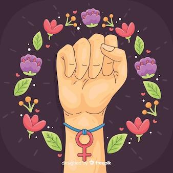 Modern hand drawn feminism concept