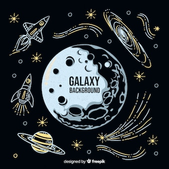 Modern hand drawn galaxy background
