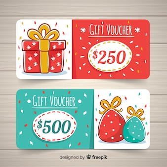 Modern hand drawn gift voucher template