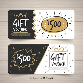Modern hand drawn gift voucher template