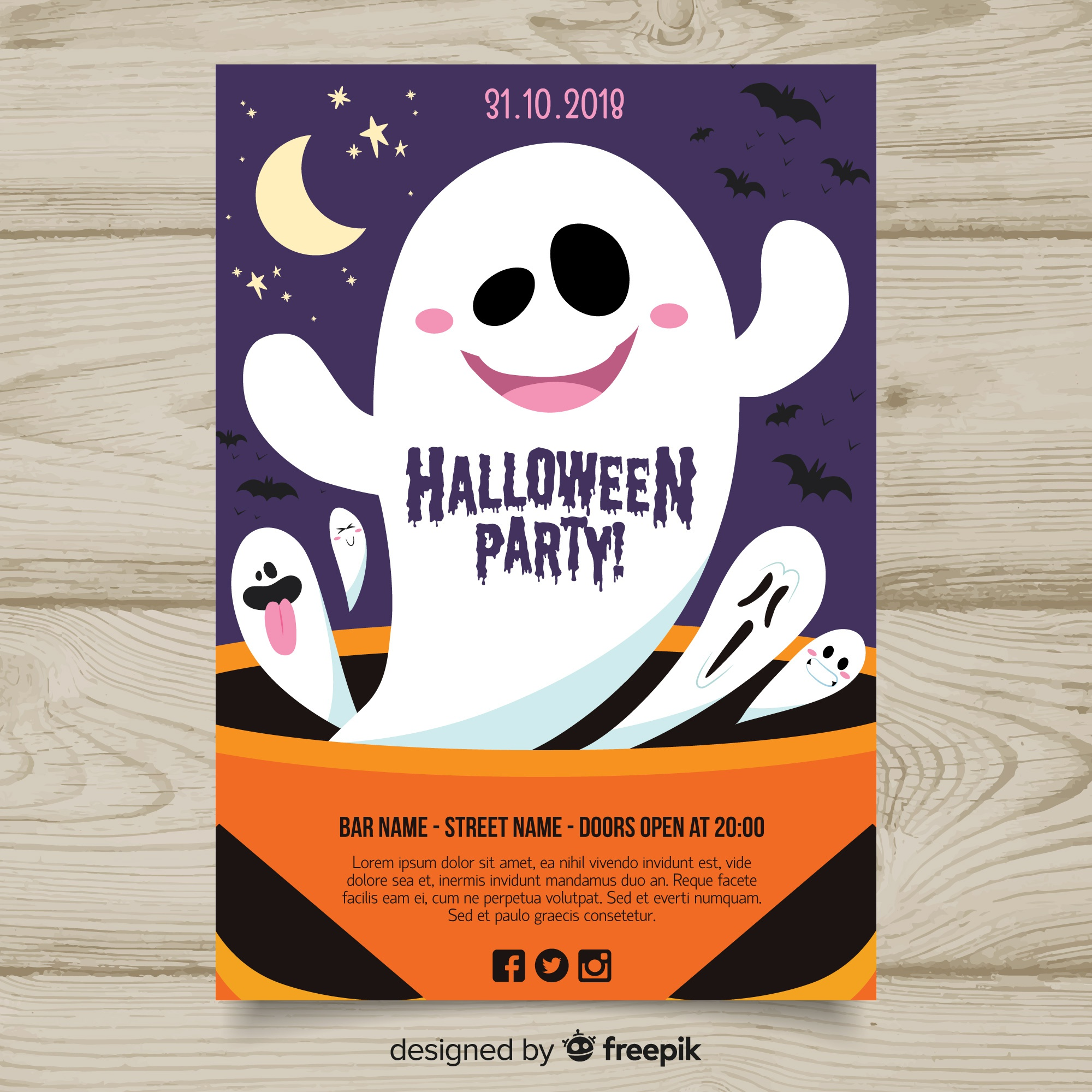 Modern hand drawn halloween party poster