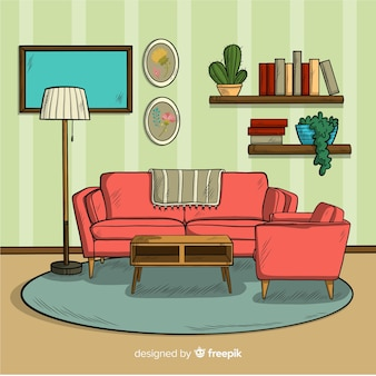 Modern hand drawn living room