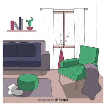 Modern hand drawn living room