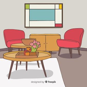 現代の手描きのリビングルーム