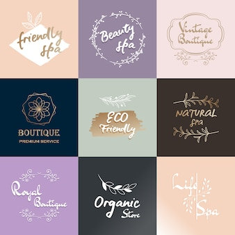 Modern hand drawn logo set