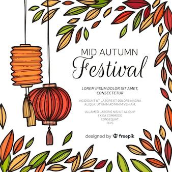 Modern hand drawn mid autumn festival background