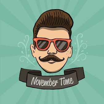 Modern hand drawn movember composition