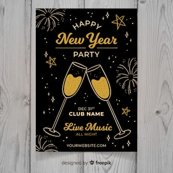 Modern hand drawn new year party poster