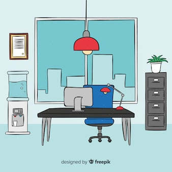 Modern hand drawn office interior