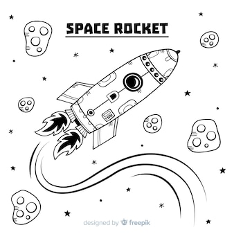 Modern hand drawn rocket composition