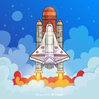 Modern hand drawn rocket composition