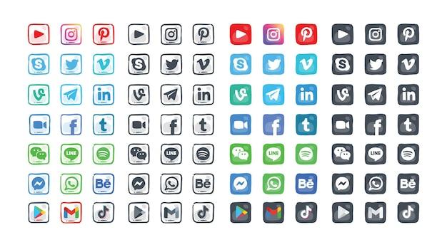 現代の手描きのソーシャルメディアアイコンセット