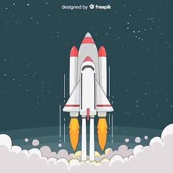 Modern hand drawn space rocket