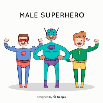 Modern hand drawn superhero character collection