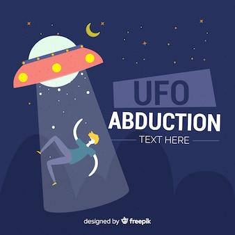 Modern hand drawn ufo abduction concept