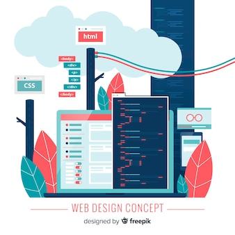 Modern hand drawn web design concept