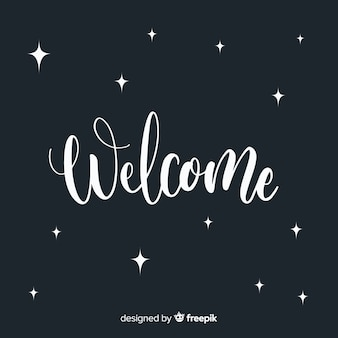 Modern hand drawn welcome composition