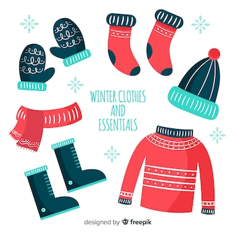 Modern hand drawn winter clothes collection