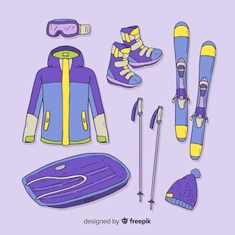 Modern hand drawn winter sport equipment