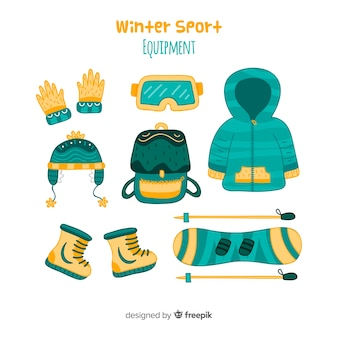 현대 손으로 그린 겨울 스포츠 장비