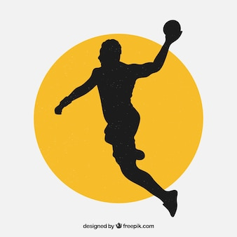 Modern handball player silhouette