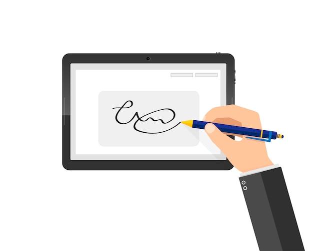 태블릿에 현대 필기 디지털 서명. 삽화