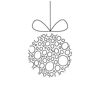 Modern hanging christmas ball with linear black circles handwritten isolated on a white background