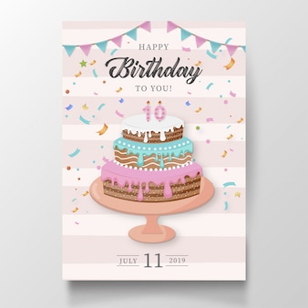 Modern happy birthday card with cake
