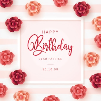 Modern happy birthday card with flowers