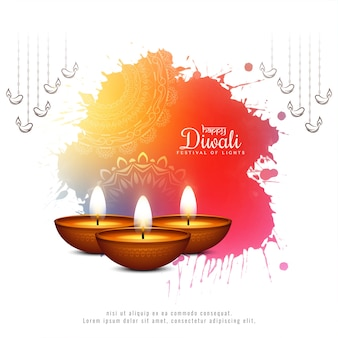 Modern happy diwali festival colorful background with lamps