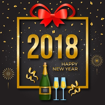 Modern happy new year 2018 celebration card