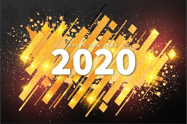 Modern happy new year 2020 banner with abstract shape