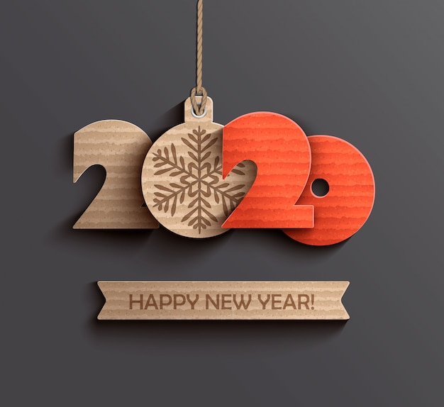 Modern happy new year 2020 paper