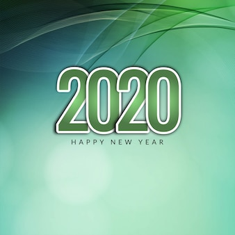 Modern happy new year 2020 wavy background