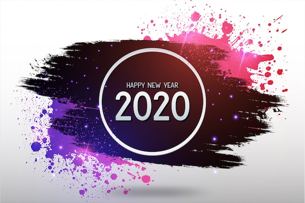 Modern happy new year background with colorful splash